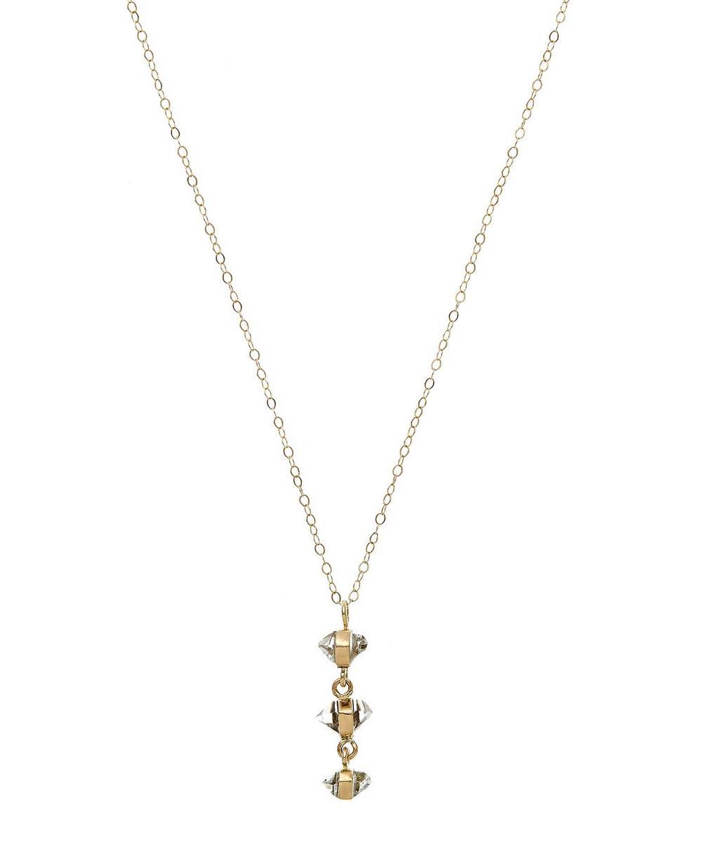 Gold Herkimer Diamond Three Drop Necklace