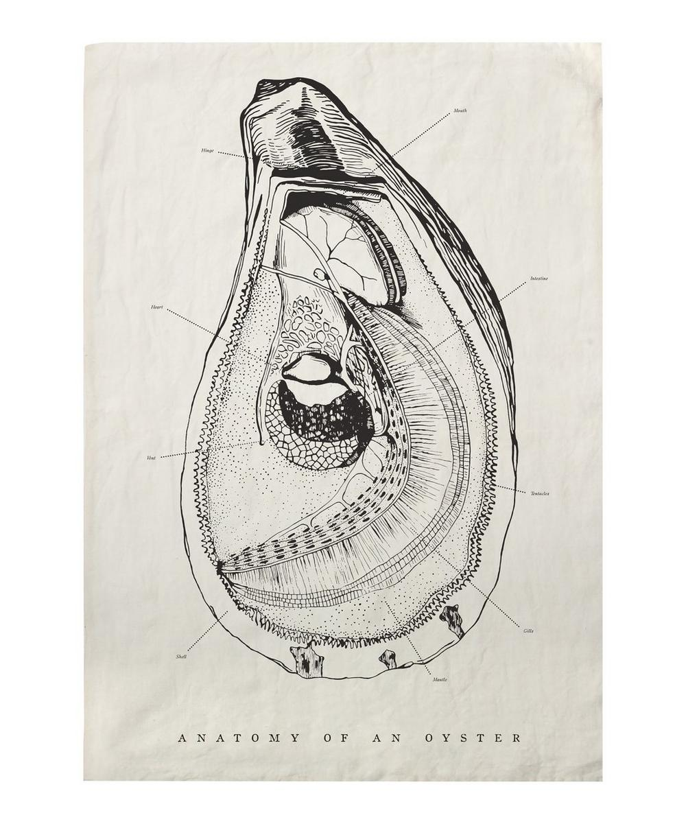Oyster Anatomy Tea Towel