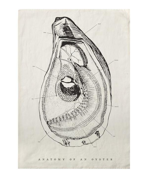 Oyster Anatomy Tea Towel
