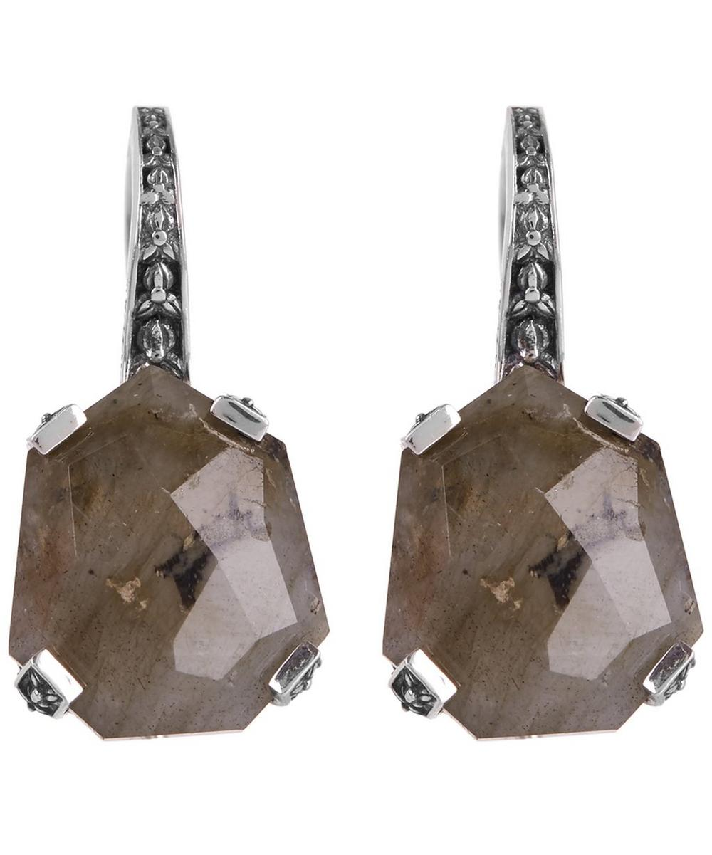 Silver Galactical Labradorite Drop Earrings
