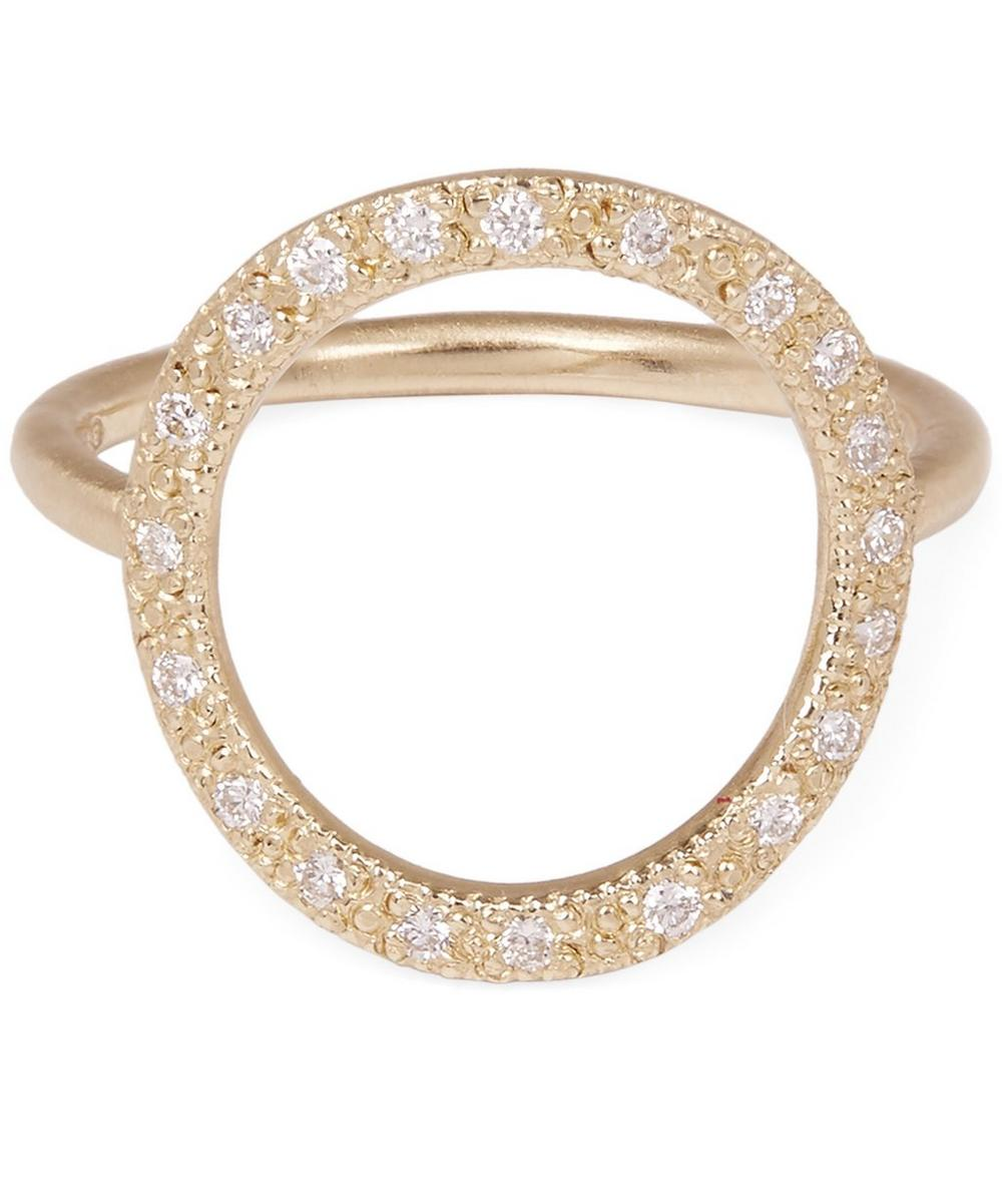 Gold Infinity White Diamond Ring
