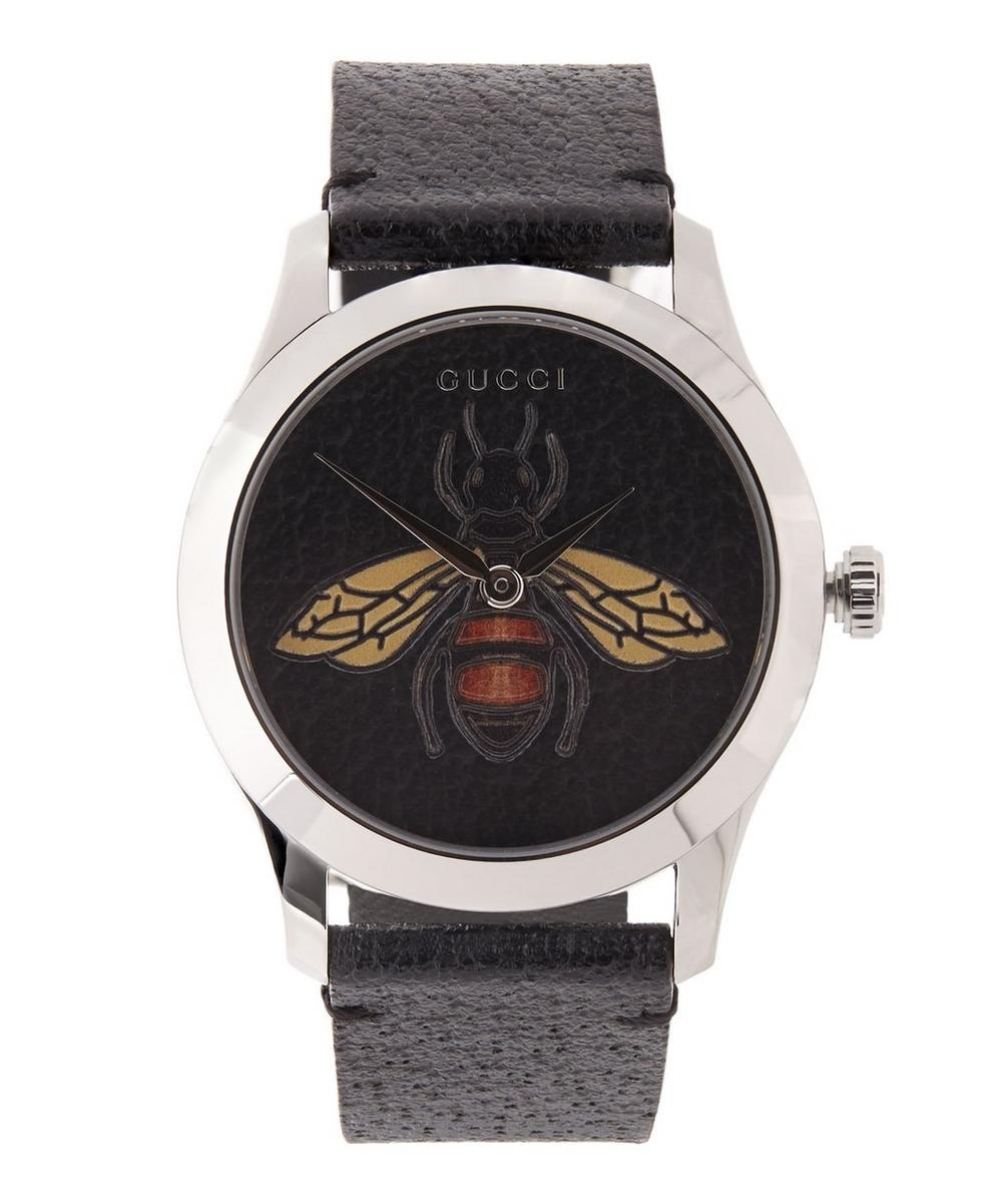 G-Timeless Leather Bee Motif Watch