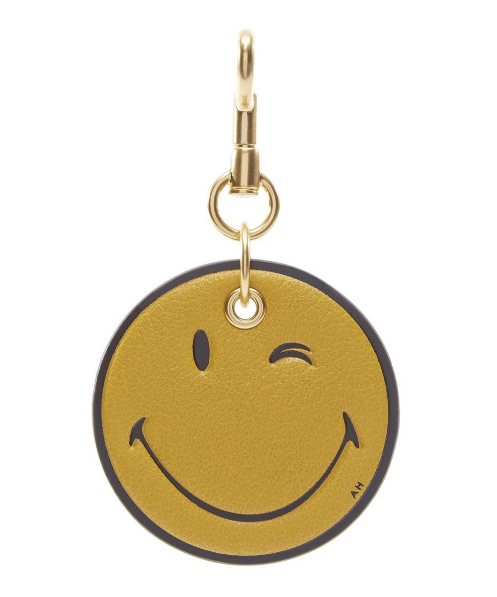 Capra Leather Winking Smiley Keyring