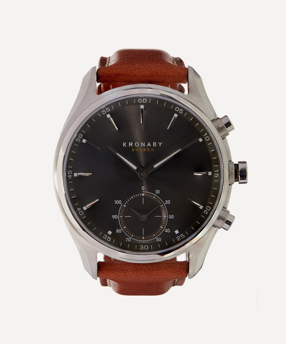 Sekel Stainless Steel Leather Strap Watch
