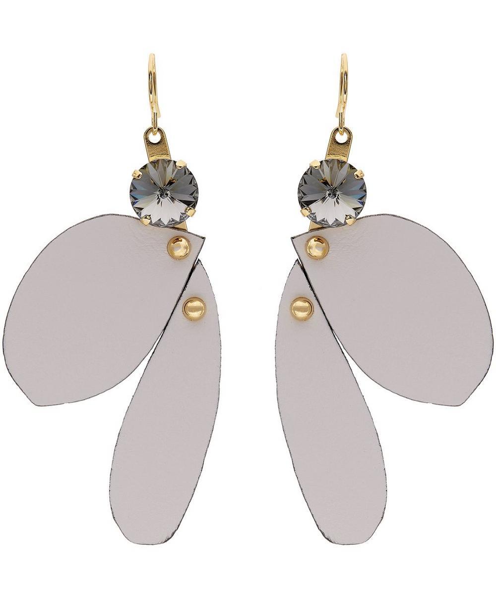 Leather Petal Drop Earrings