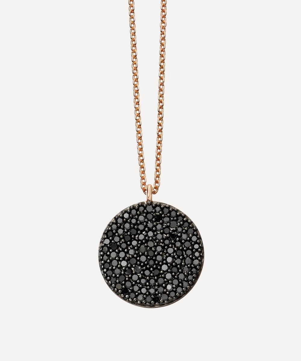 Rose Gold Icon Black Diamond Pendant Necklace