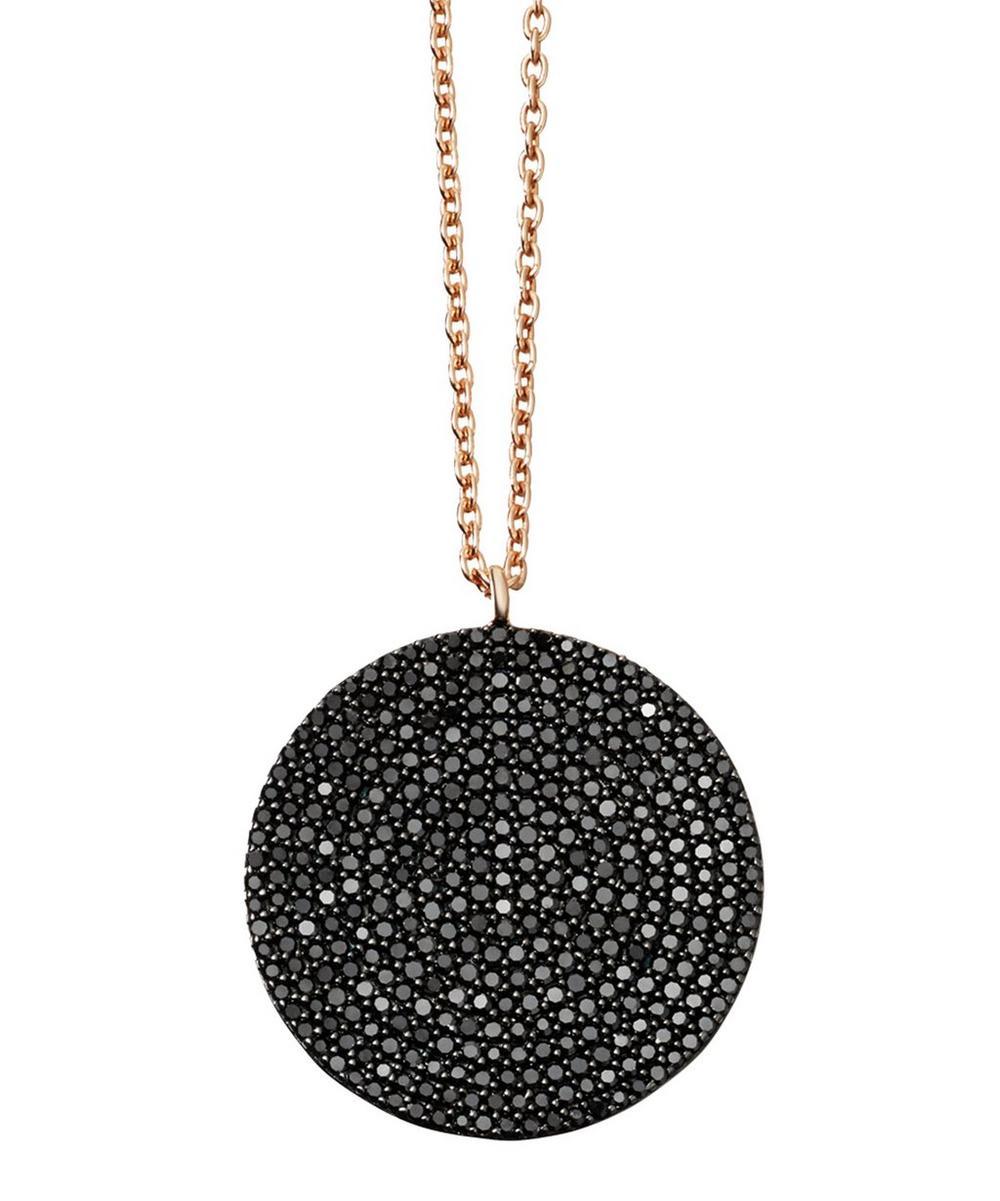Rose Gold Large Icon Black Diamond Pendant Necklace