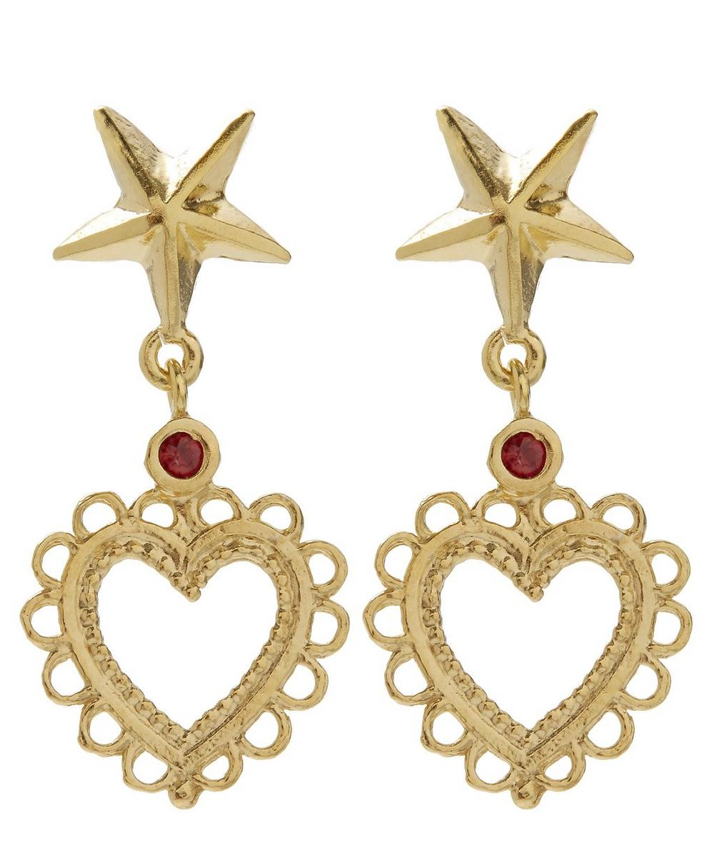 Gold-Plated Star Stud Lace-Edged Heart Drop Earrings