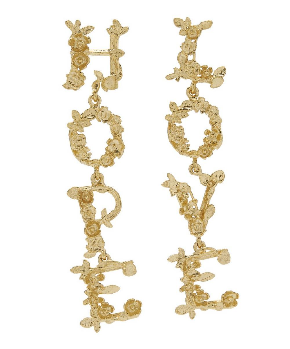 Gold-Plated Hope and Love Asymmetric Drop Earrings