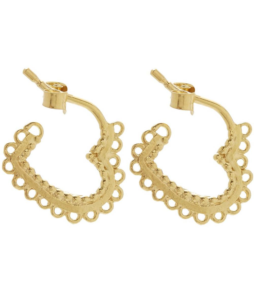 Gold Plated Small Lace Edged Heart Hoop Earrings