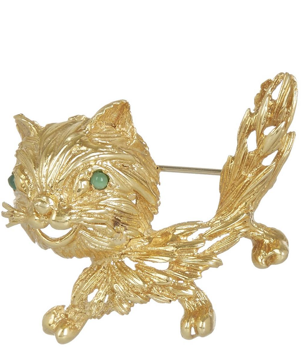 Gold Emerald Cat Brooch