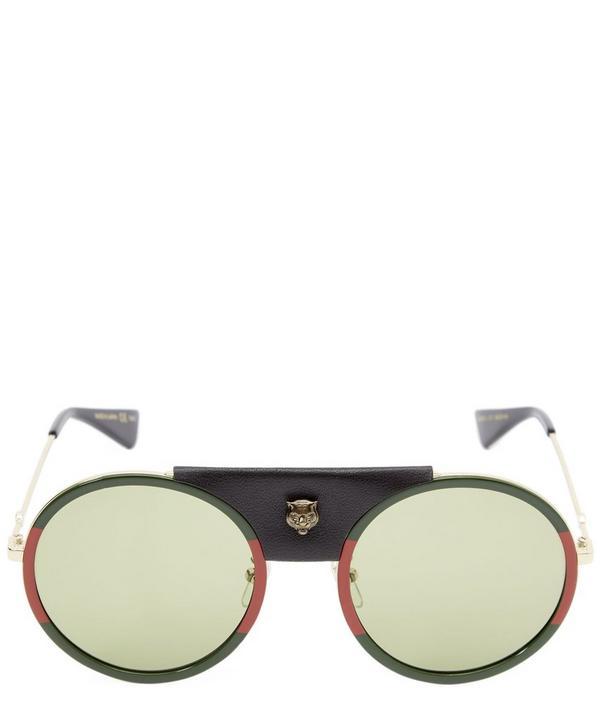 Round Frame Leather Bridge Sunglasses