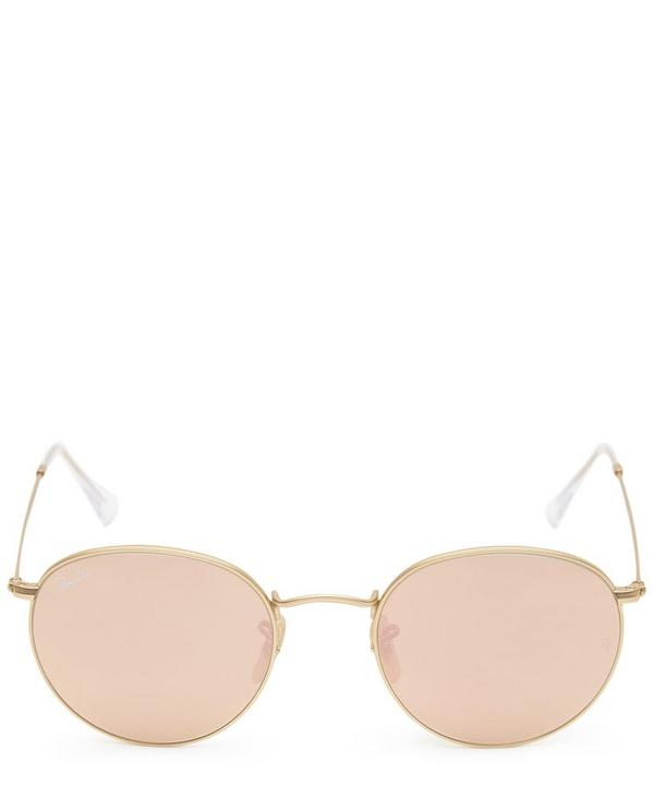 Gold-Tone Round Metal Sunglasses