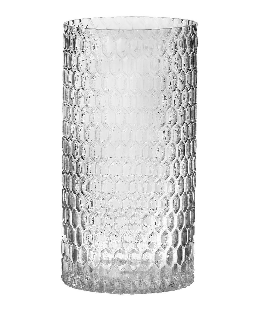 Diamond Cylinder Glass Vase 30cm