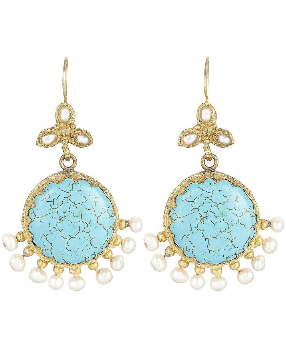 Gold-Plated Turquoise and Pearl Drop Earrings