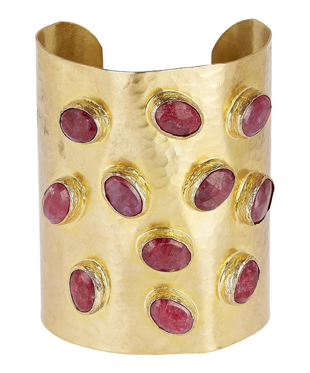 Gold-Plated Oval Ruby Cabochon Hammered Cuff Bracelet