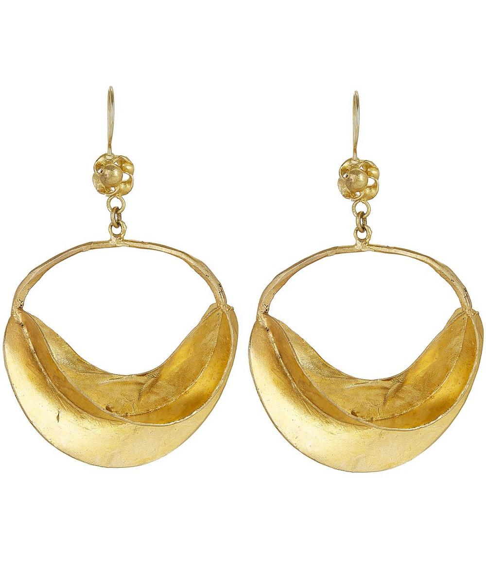 Gold-Plated Large Curved Star Fruit Drop Earrings