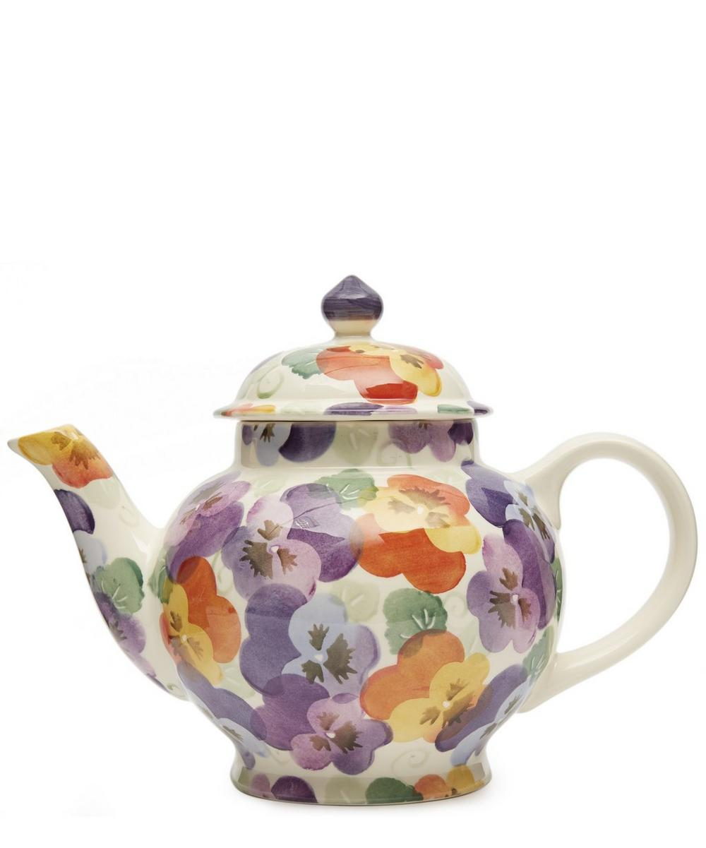Purple Pansy Four Mug Teapot