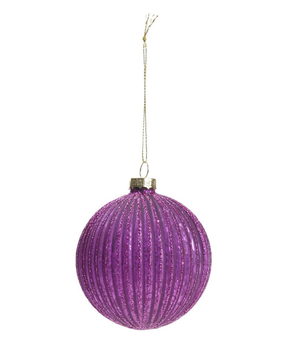 Fuschia Glitter Striped Bauble