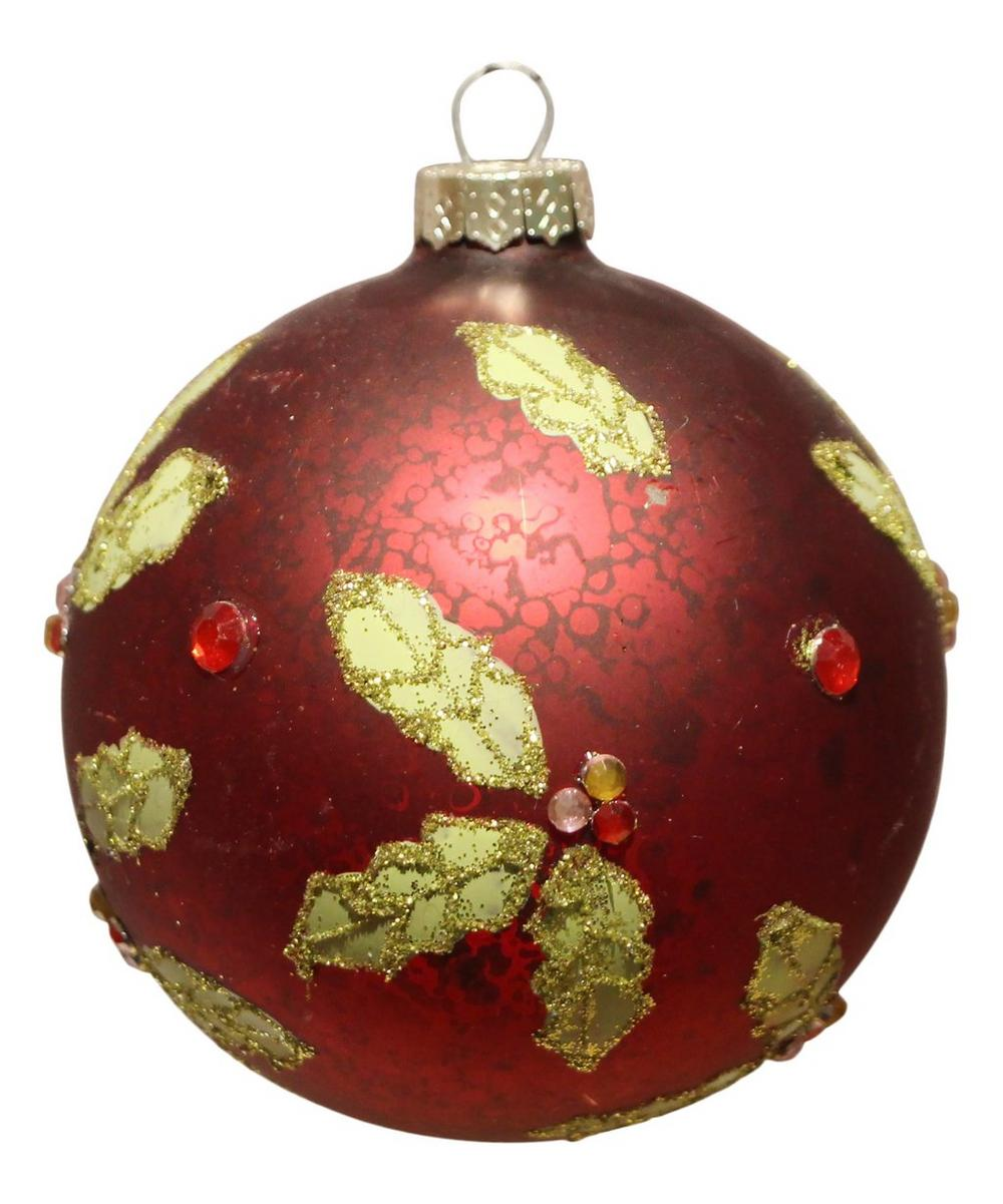 Antique Effect Holly Bauble