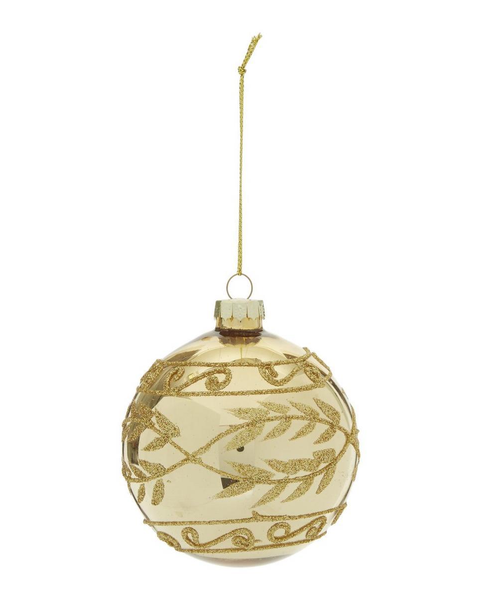 Gold-Tone Leaf Trellis Bauble