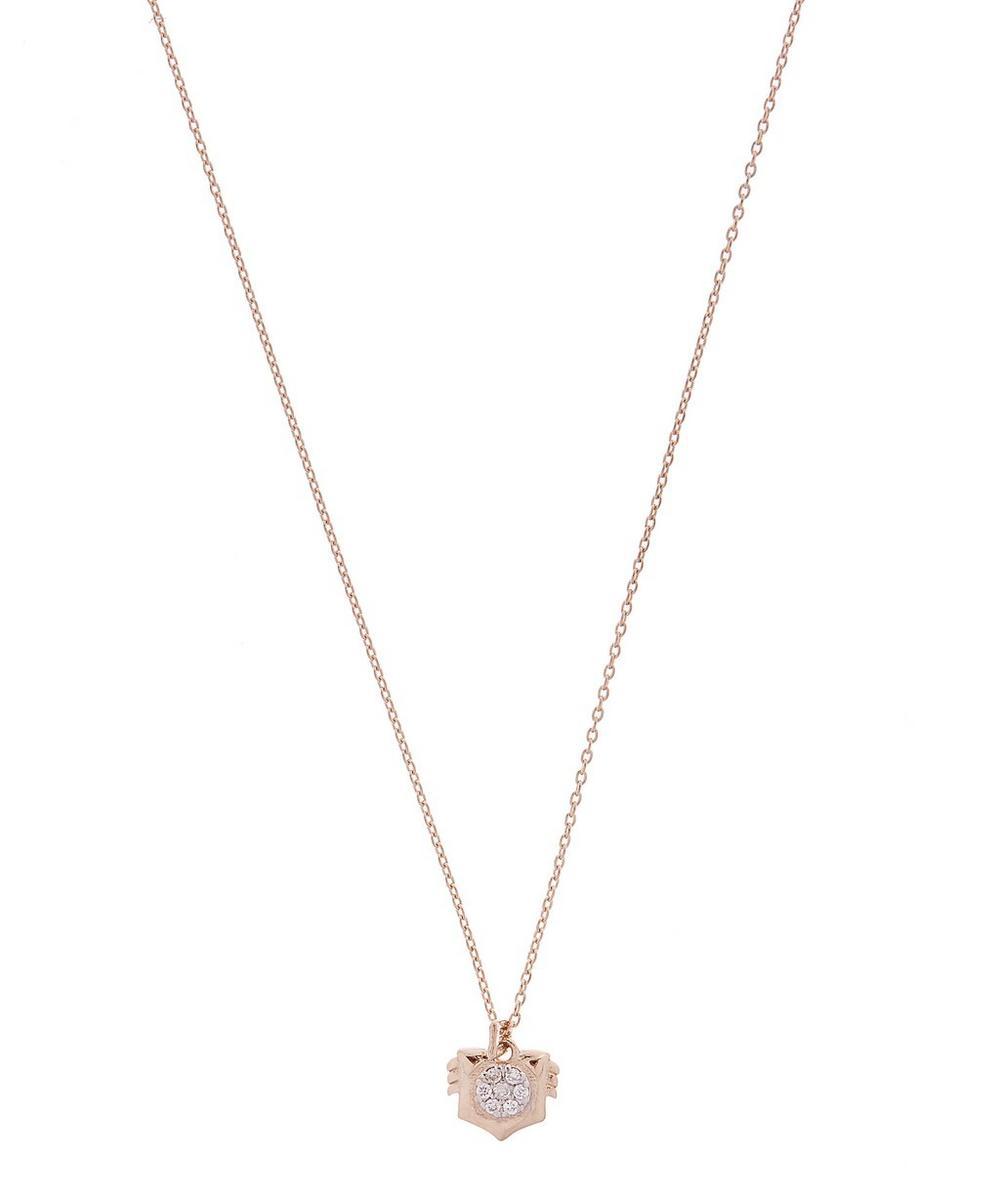 Rose Gold Horoscope Leo White Diamond Pendant Necklace