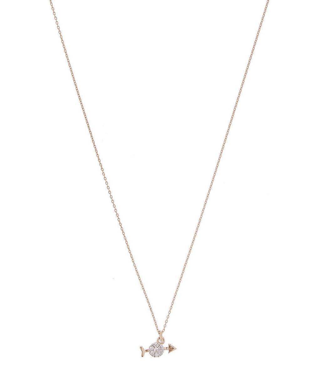 Rose Gold Horoscope Sagittarius White Diamond Pendant Necklace