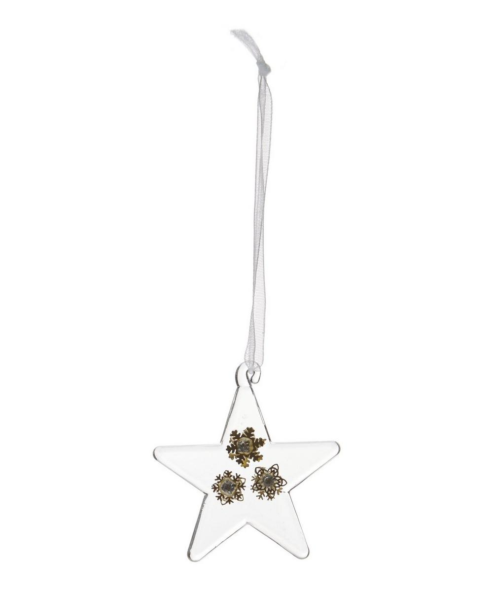 Clear Glass Star with Snowflakes Decoration