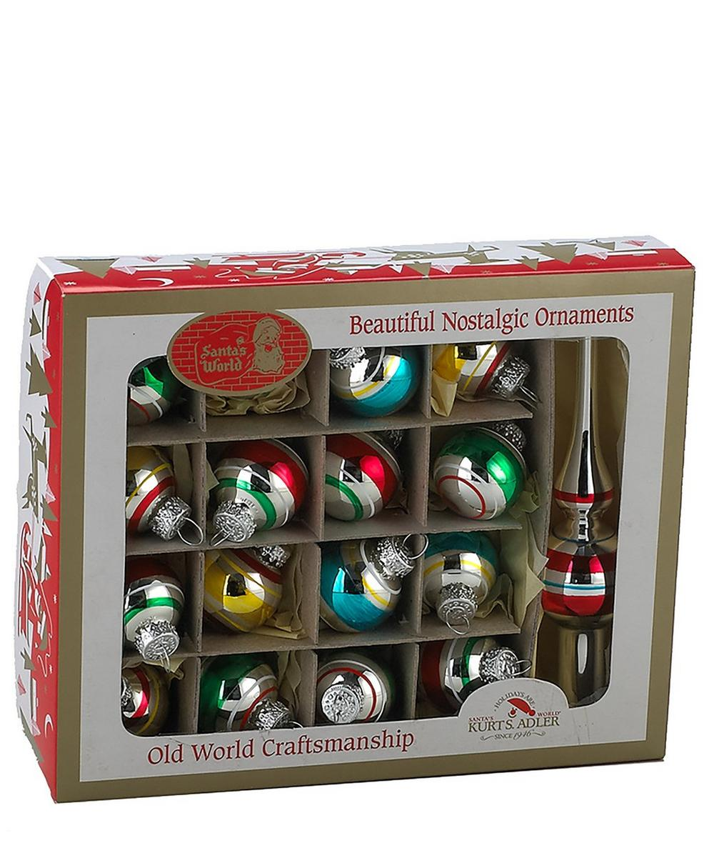 Set of 17 Painted Glass Baubles and Treetop Decoration