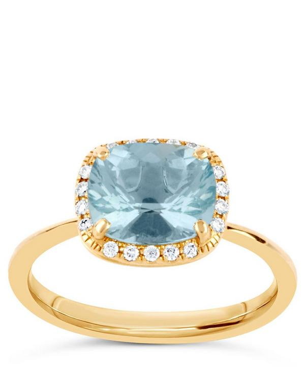 Gold Sheba Cushion Landscape Aquamarine Ring