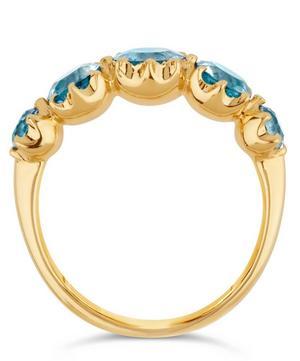Elyhara Gold Tapering Five-Stone Aquamarine Ring