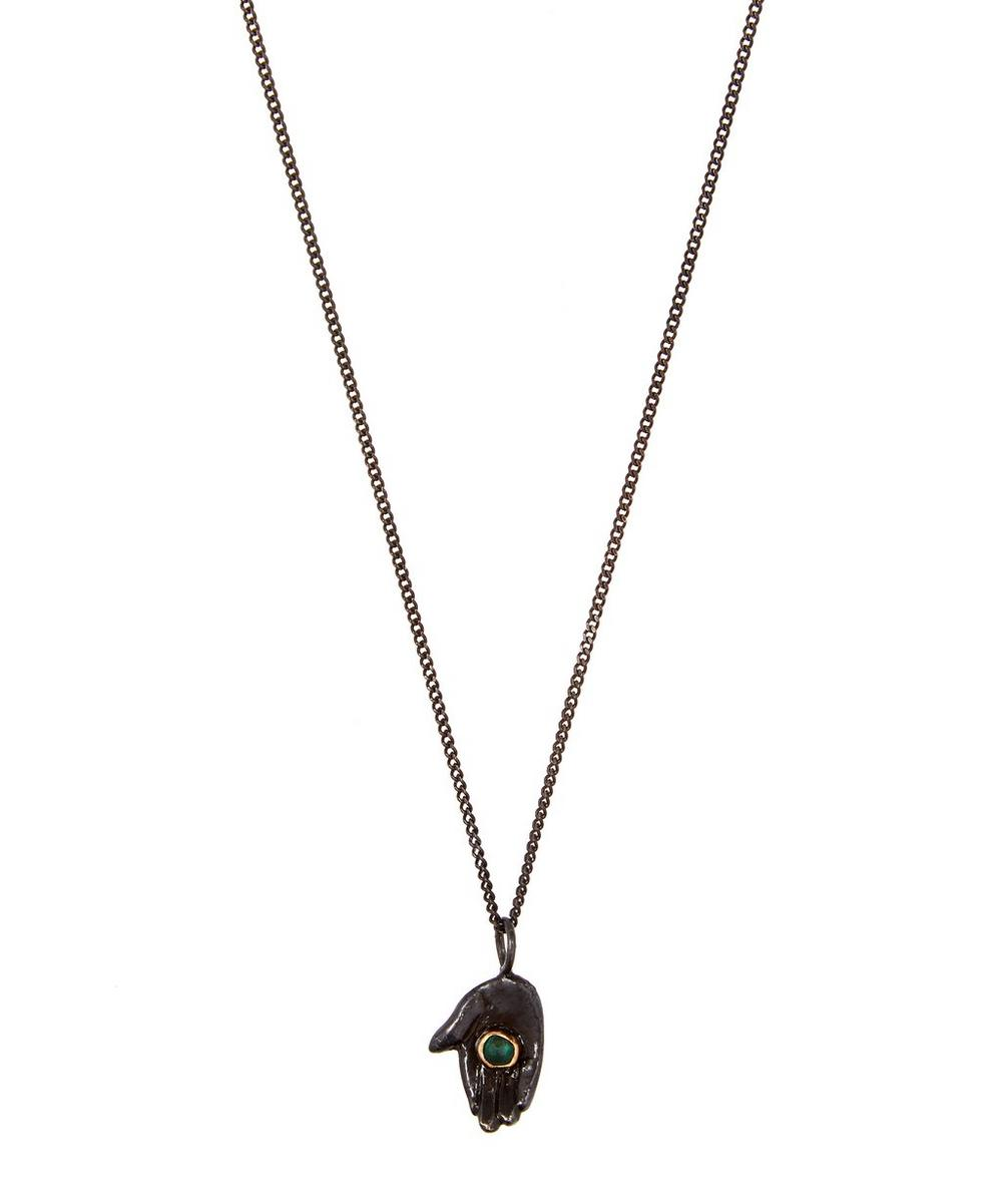 OXIDISED SILVER DARK PALM EMERALD NECKLACE