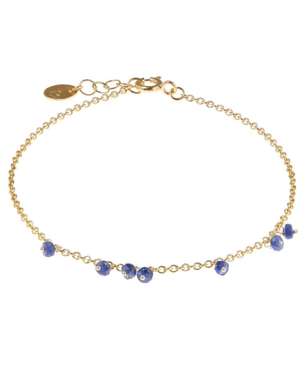 Gold-Plated Blue Sapphire Single Chain Bracelet