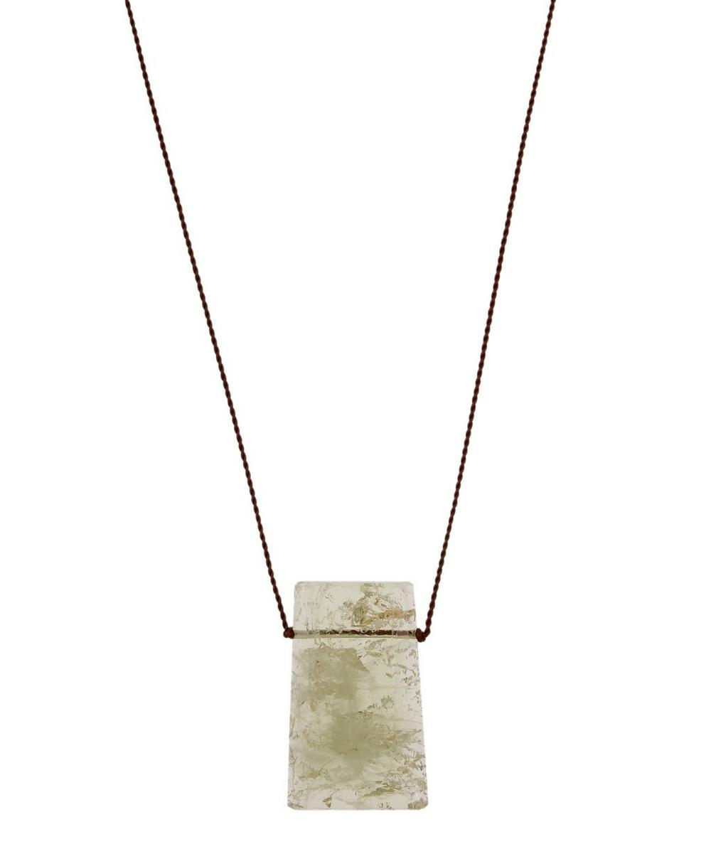 MARGARET SOLOW SILVER CLASP EXTRA LARGE BERYL CORD NECKLACE