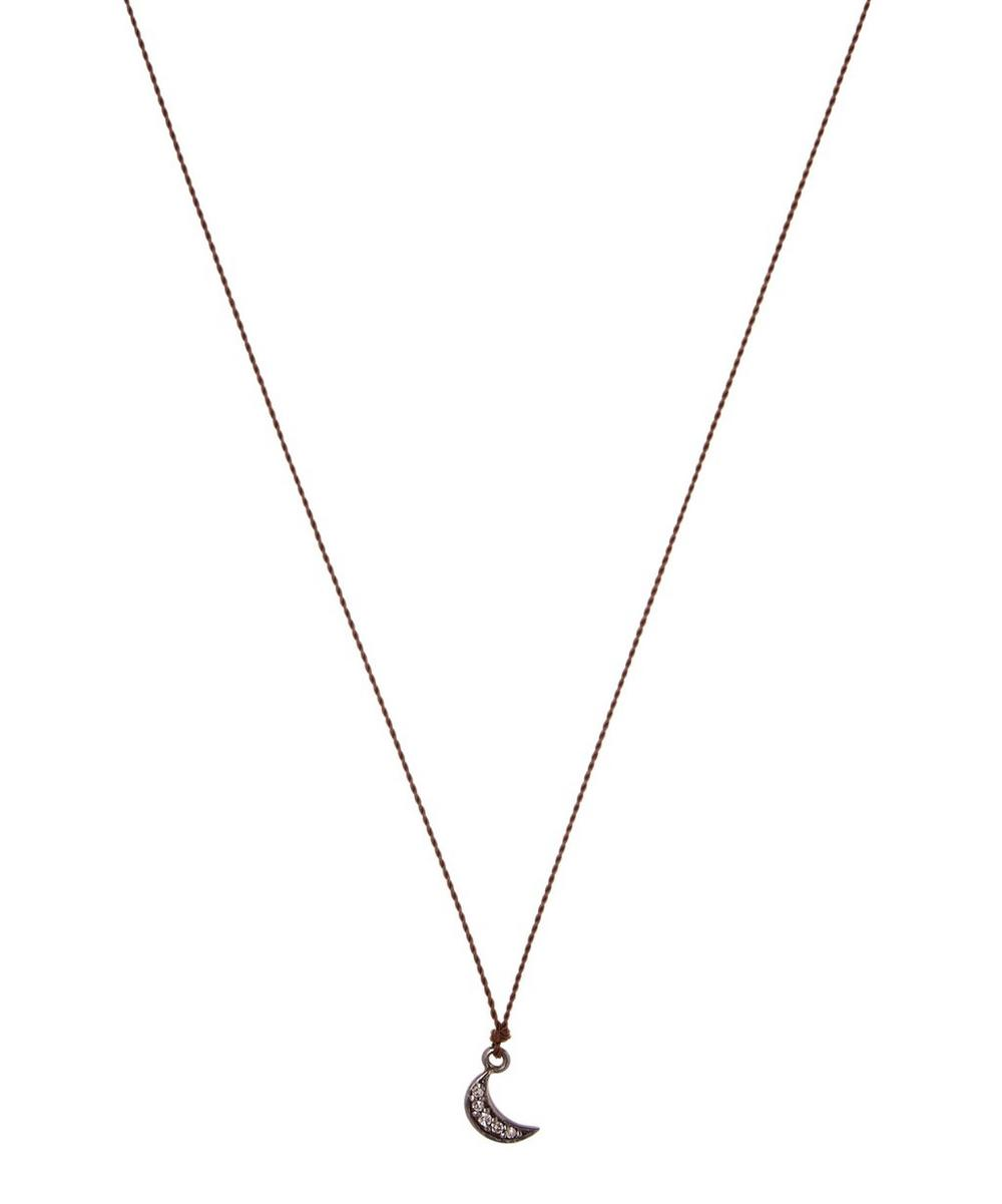 MARGARET SOLOW SILVER TINY MOON DIAMOND NECKLACE