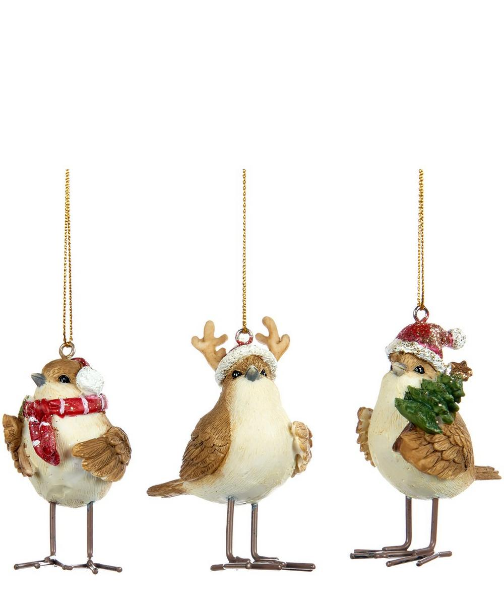 Set of 3 Assorted Christmas Bird Decorations