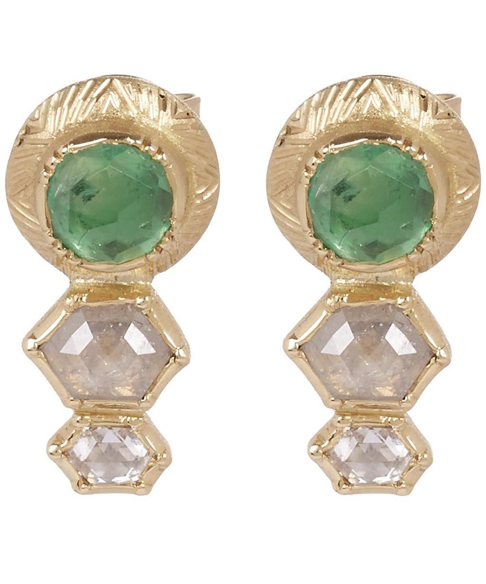 Emerald And Diamond Geo Engraved Stud Earrings
