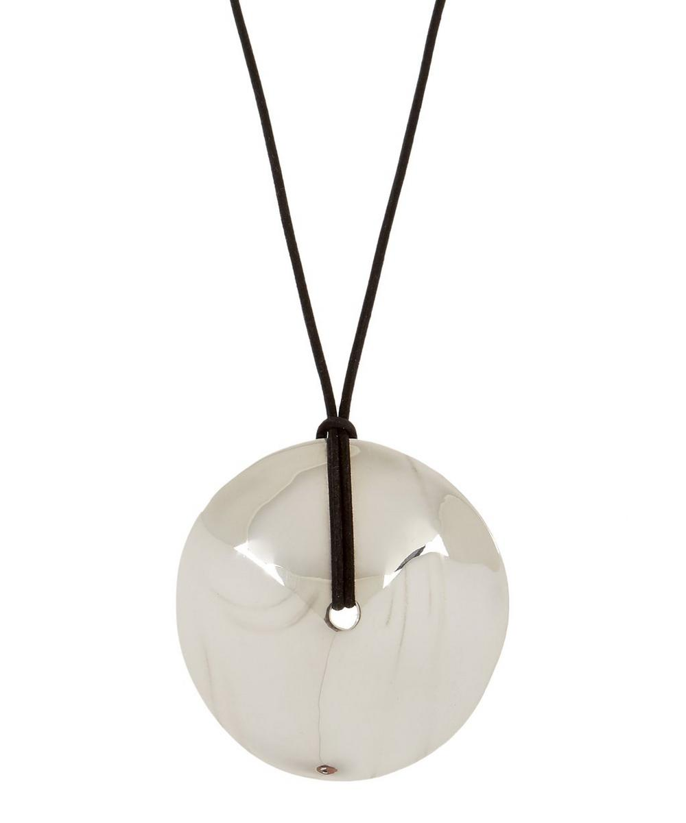 AGMES SILVER LARGE CORA SUEDE PENDANT NECKLACE