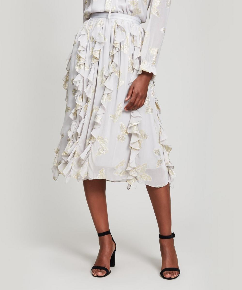 Lurex Butterfly Midi Skirt