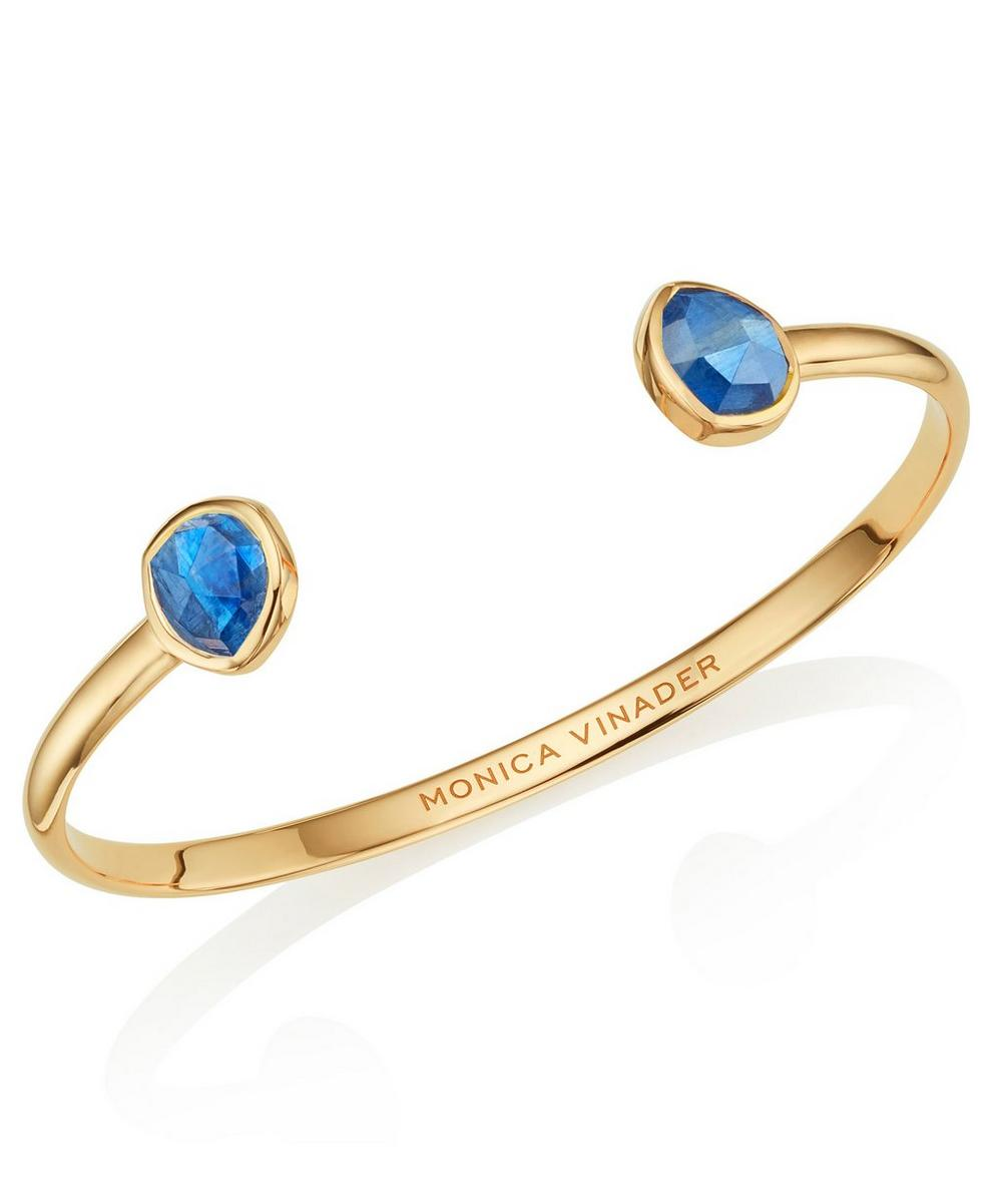 GOLD VERMEIL KYANITE SIREN THIN OPEN CUFF BRACELET