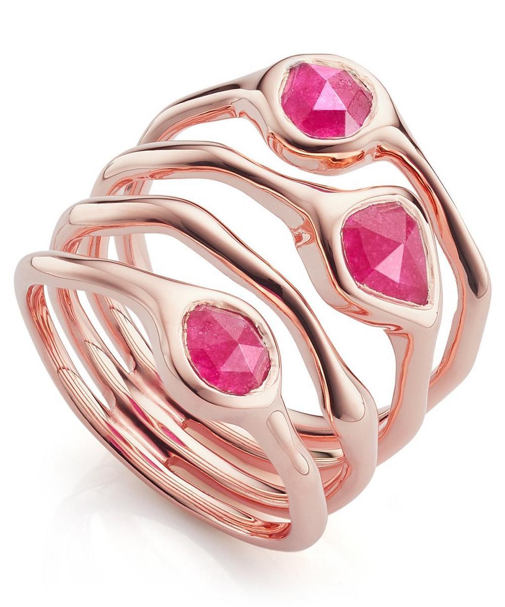 Rose Gold Vermeil Siren Cluster Pink Quartz Cocktail Ring