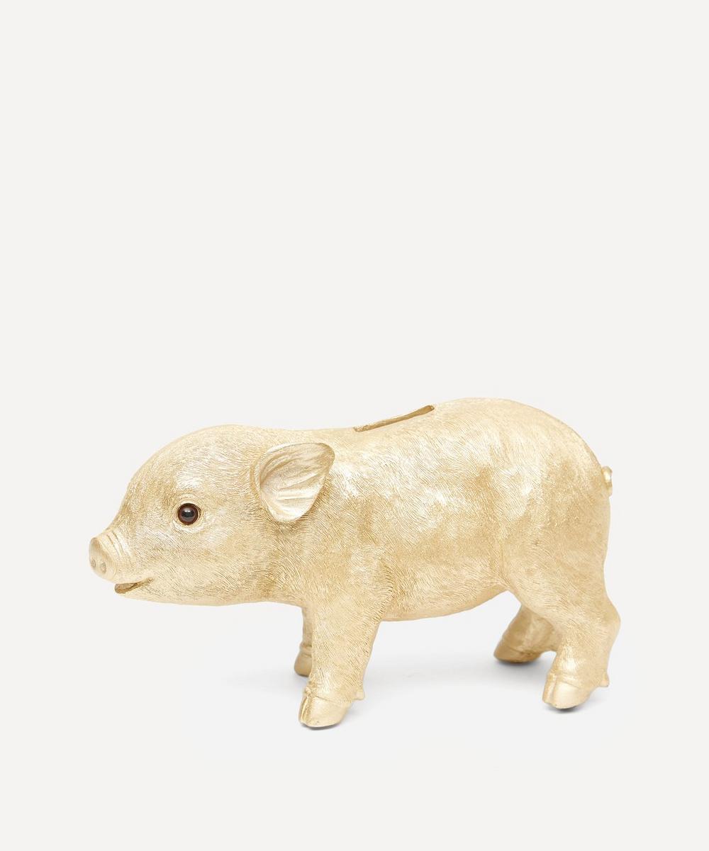 Gold Tone Pig Coin Bank