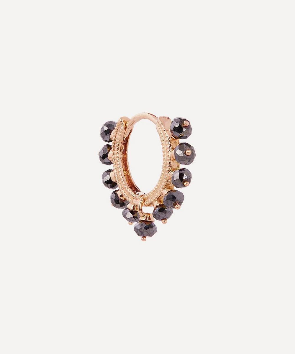 5/16' Black Diamond Coronet Hoop Earring