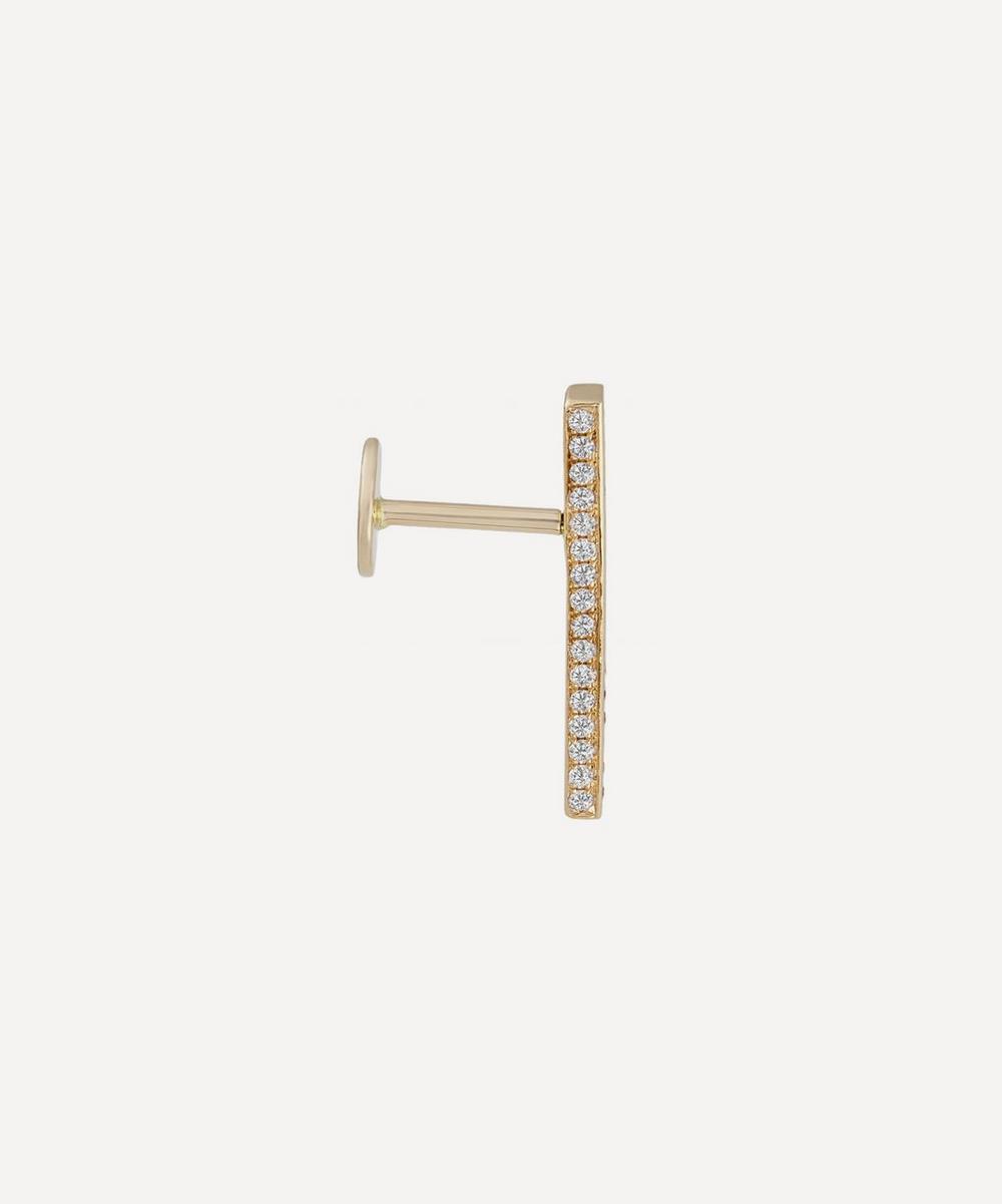 18mm Square Diamond Pave Bar Threaded Stud Earring