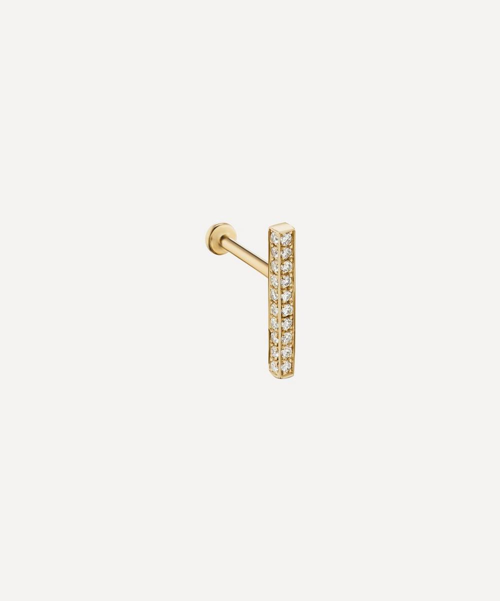 11mm Square Diamond Pave Bar Threaded Stud Earring