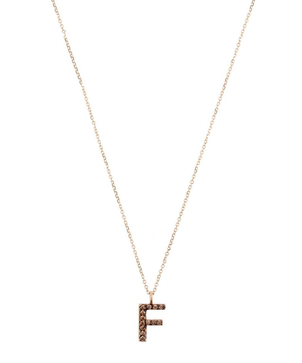 Yellow Gold Champagne Diamond Letter F Necklace