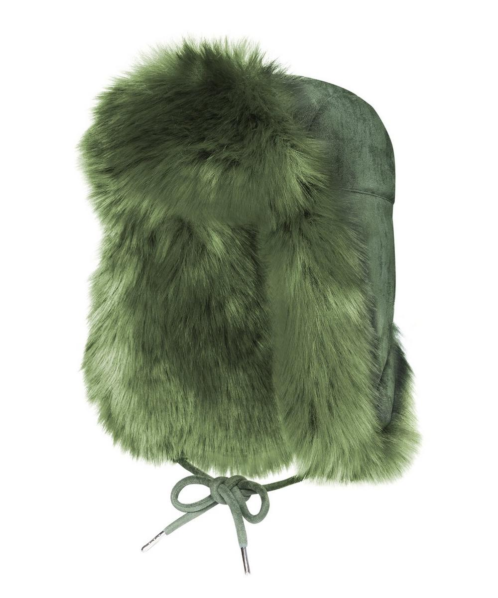 Helmet Head Faux Fur and Suede Trapper Hat