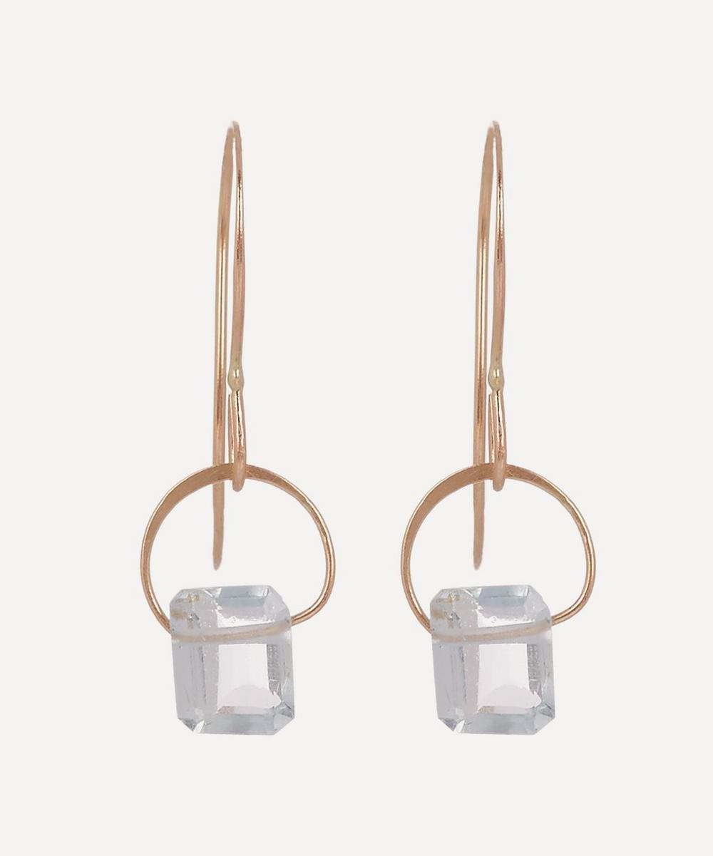 Gold Emerald Cut Aquamarine Drop Earrings
