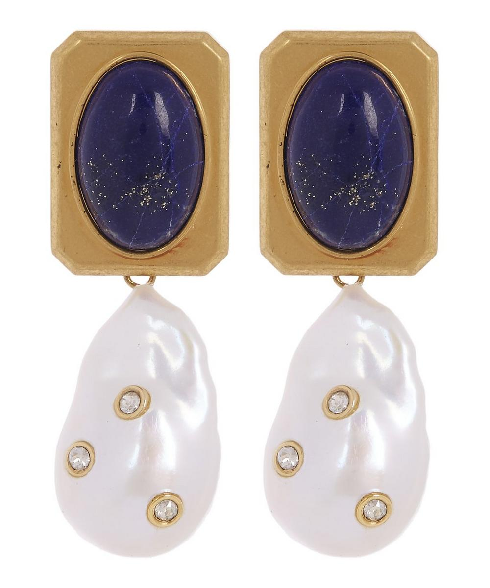 Baroque Pearl And Lapis Lazuli Crystal Drop Earrings