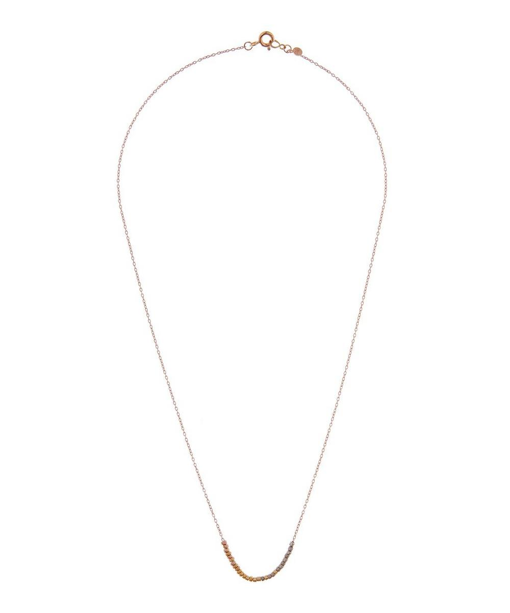 Rose Gold Tiny Bead Rainbow Necklace
